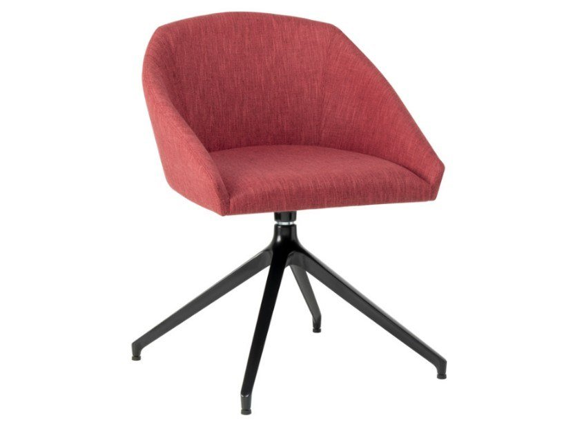 Swivel trestle-based fabric chair with metal base TATI SE01 BASE 22 by New Life
