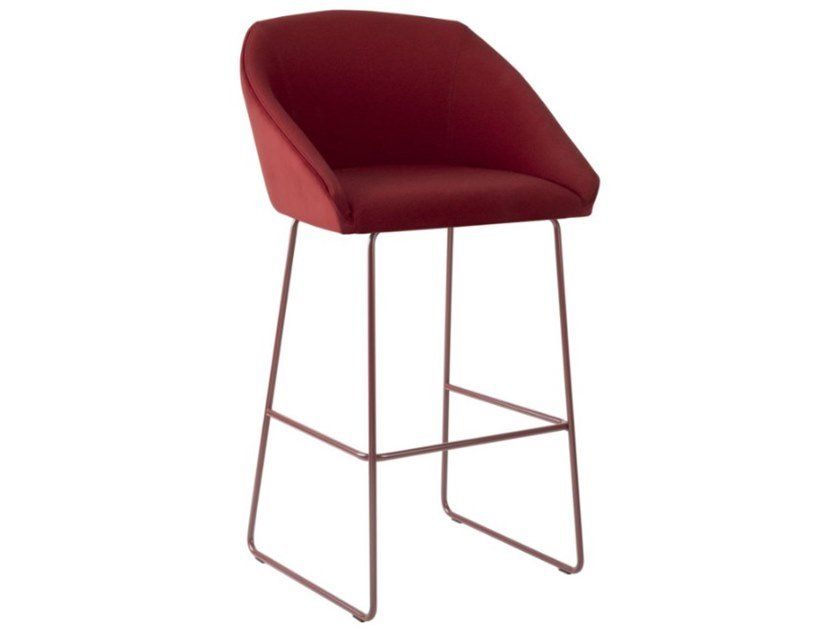 Sled base fabric stool with footrest and metal base TATI SG01 BASE 20 by New Life