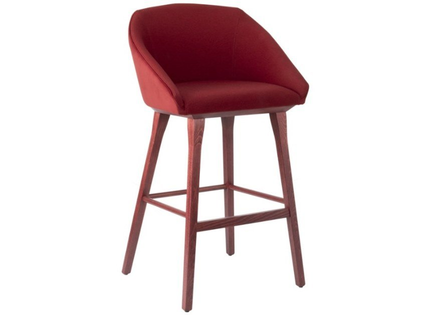 Fabric stool with wooden legs TATI SG01 BASE 10 by New Life