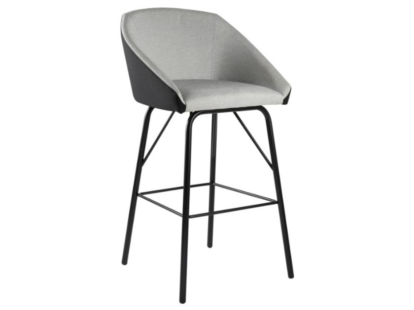 High upholstered fabric stool with metal base TATI SG01 BASE 21 by New Life