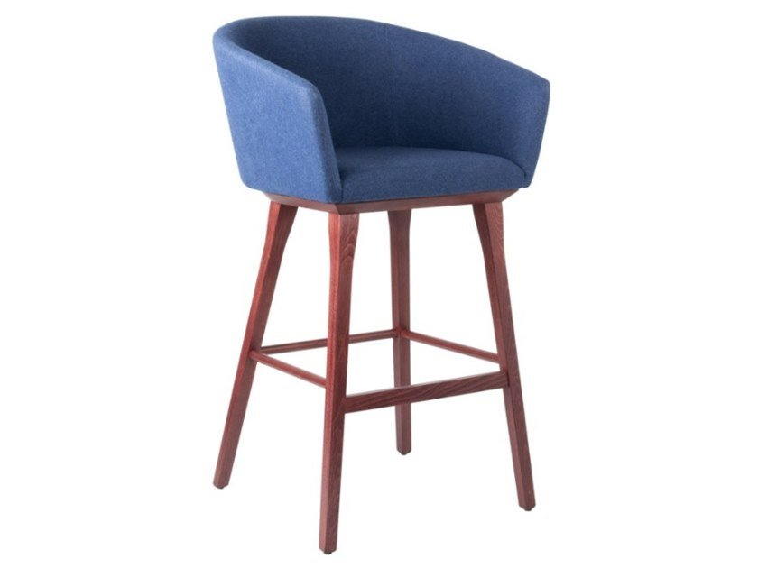 Fabric stool with armrests and wooden legs TATI SG02 BASE 10 by New Life
