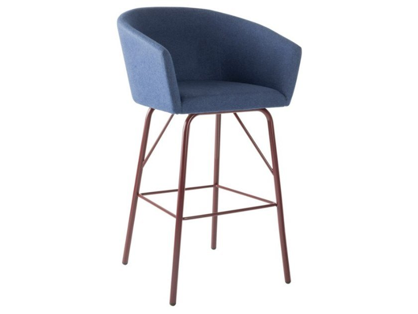 Upholstered fabric stool with armrests and metal base TATI SG02 BASE 21 by New Life