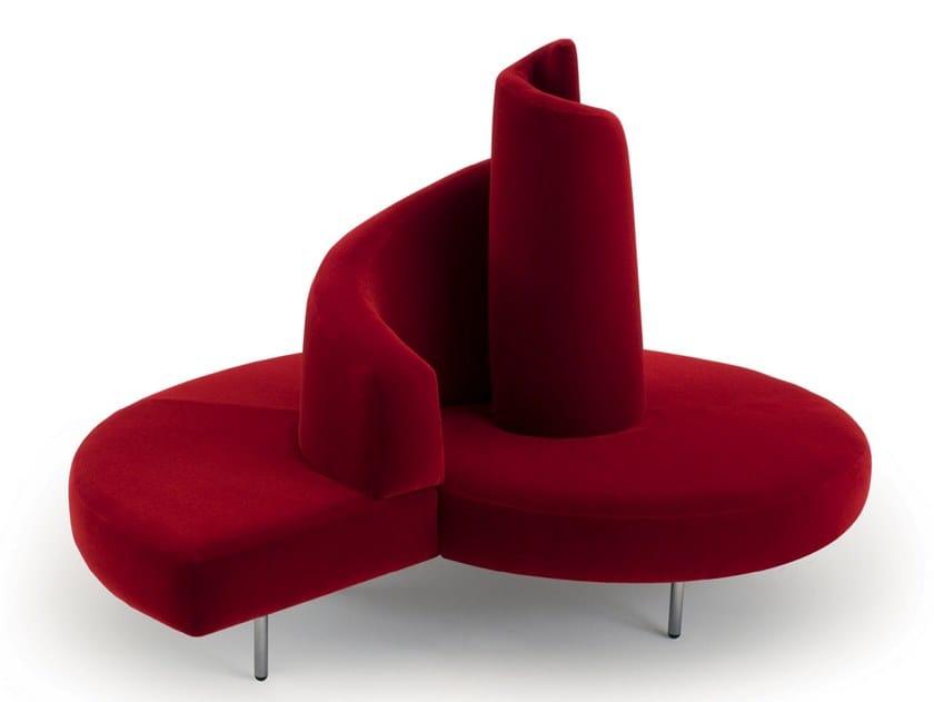 Curved velvet sofa TATLIN by edra