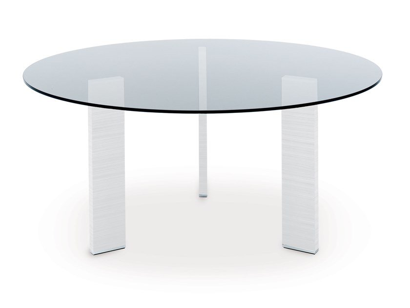 Round glass and aluminium table TAUL   Round table by MisuraEmme