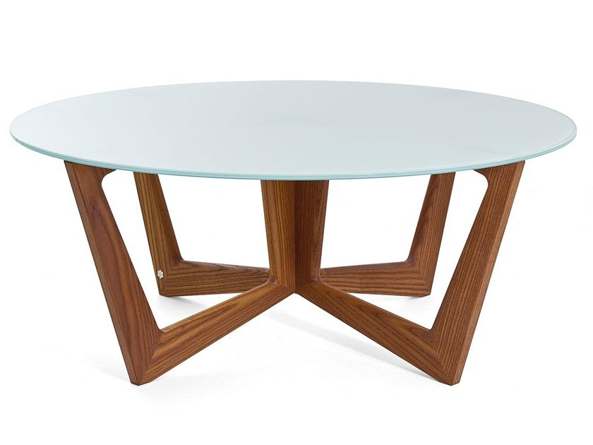 Round solid wood and glass coffee table TAULINÙT 80 by KARN