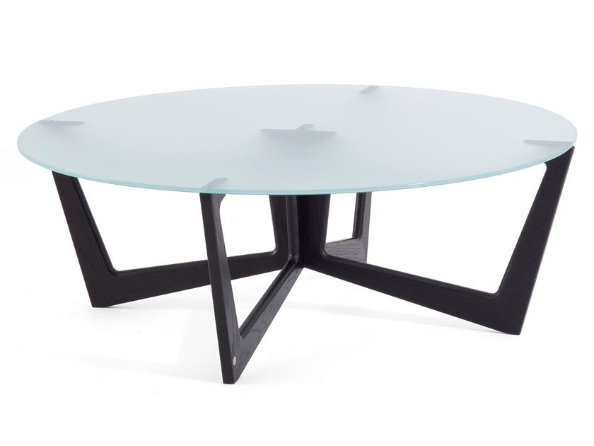 Round solid wood and glass coffee table TAULINÙT 100 by KARN