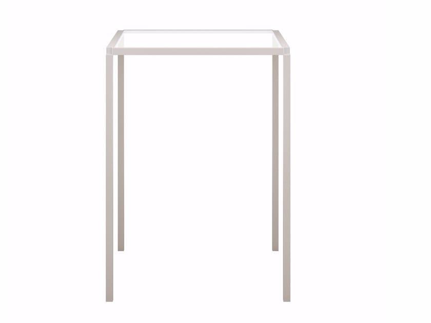 Square glass and aluminium table TAVOLO ZERO SQUARE - Z03 | High table by Alias