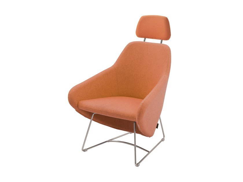 Sled base fabric armchair with armrests with headrest TAXIDO   Armchair with headrest by Segis