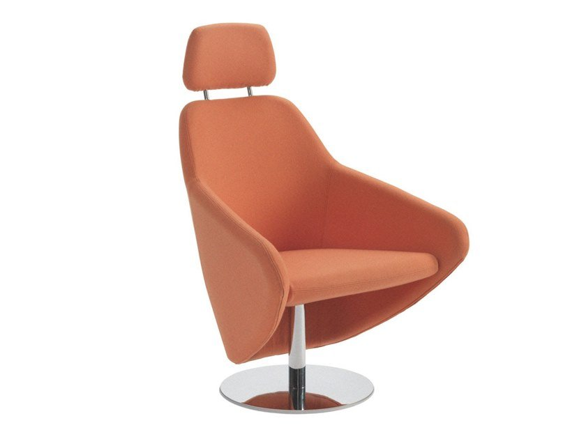 Swivel fabric armchair with armrests with headrest TAXIDO | Trestle-based armchair by Segis