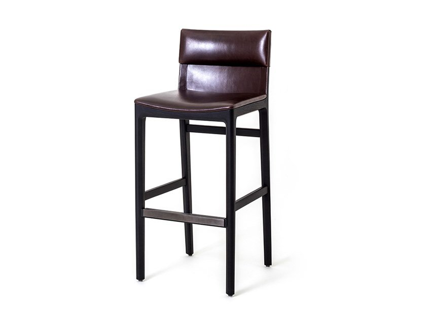 High leather stool with back TAYLOR BAR CHAIR SH750 by STELLAR WORKS