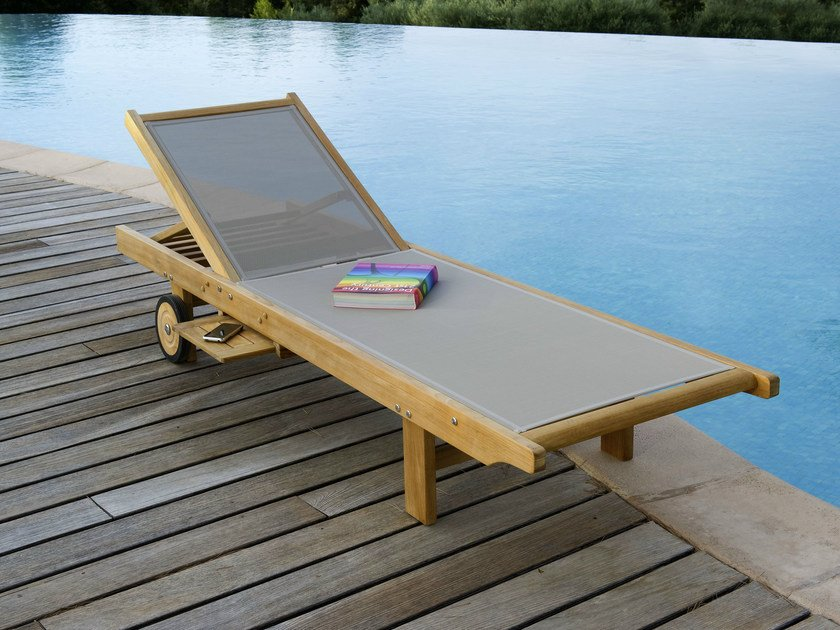 Folding Stackable Batyline® garden daybed with Casters TECK | Batyline® garden daybed by Les jardins