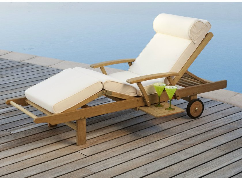 Stackable Recliner teak garden daybed with Casters TECK | Garden daybed by Les jardins