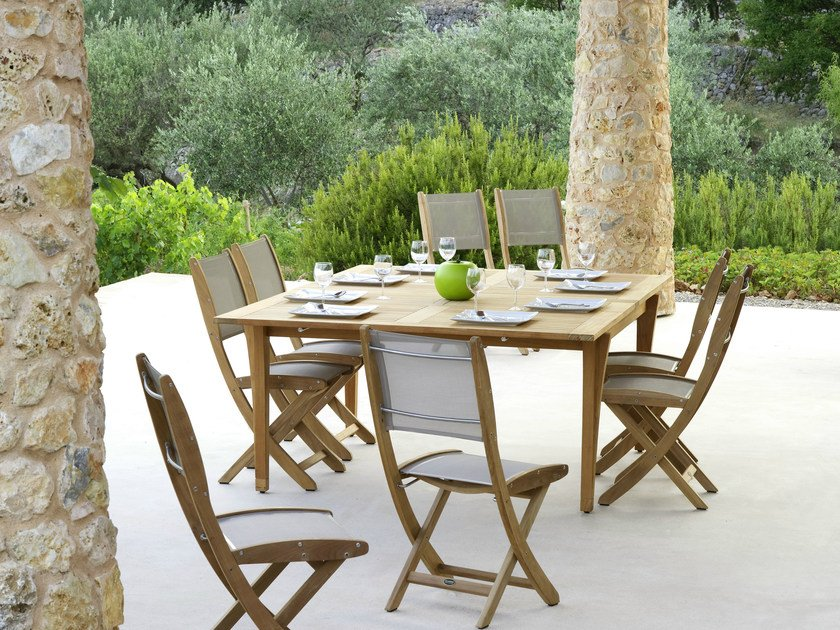Folding teak garden chair TECK by Les jardins