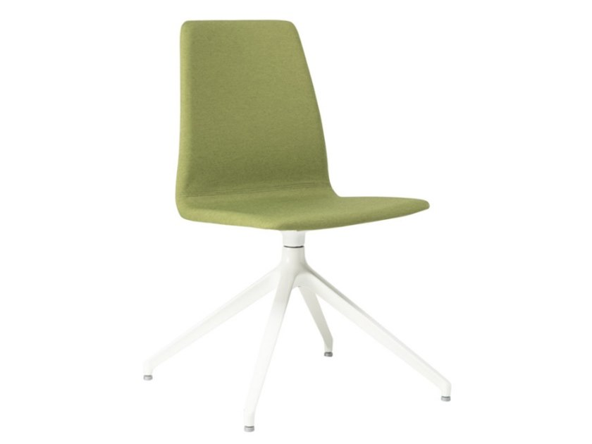 Swivel trestle-based fabric chair with metal base TECLA SE01 BASE 22 by New Life