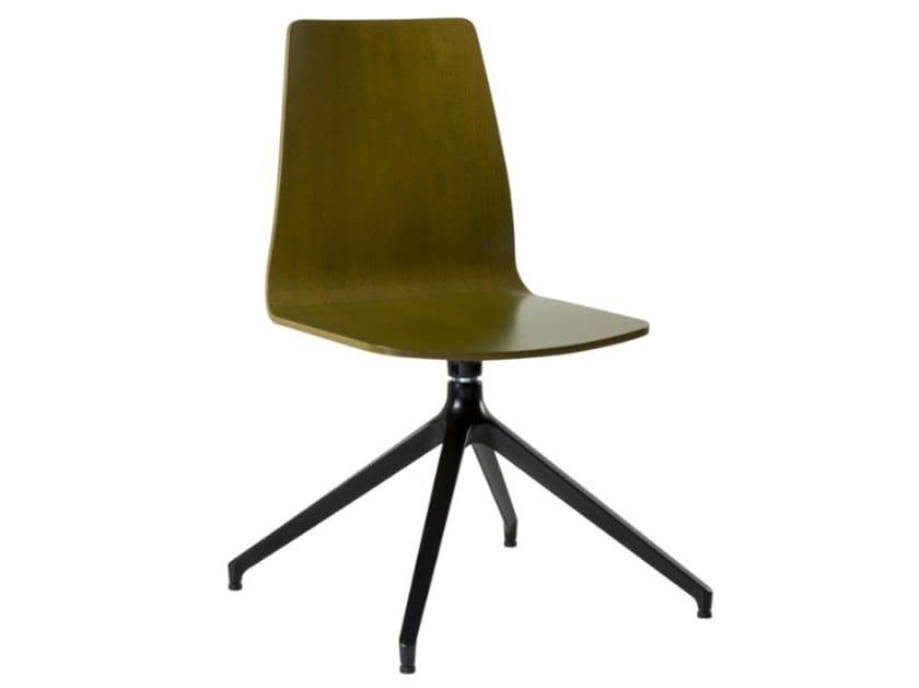 Swivel trestle-based multi-layer wood chair TECLA SE02 BASE 22 by New Life