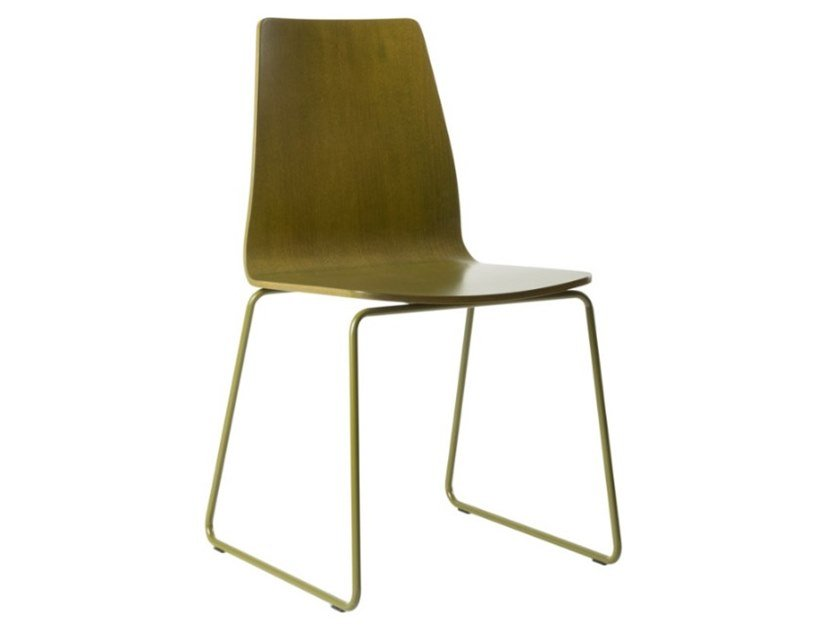Sled base multi-layer wood chair with metal base TECLA SE02 BASE 20 by New Life