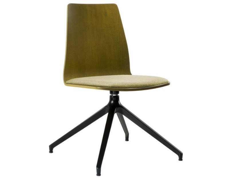 Trestle-based multi-layer wood chair with integrated cushion TECLA SE03 BASE 22 by New Life
