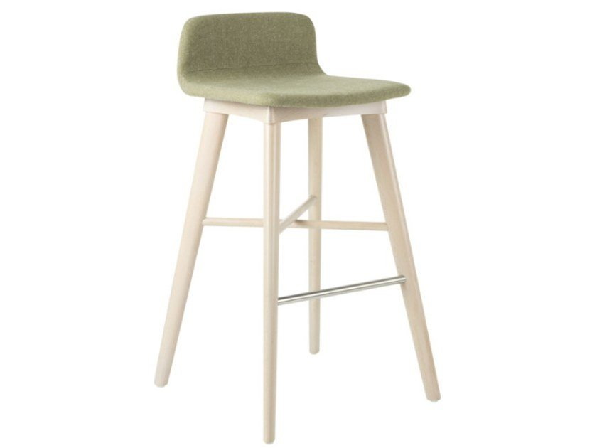 Fabric stool with beech legs TECLA SG01 BASE 10 by New Life