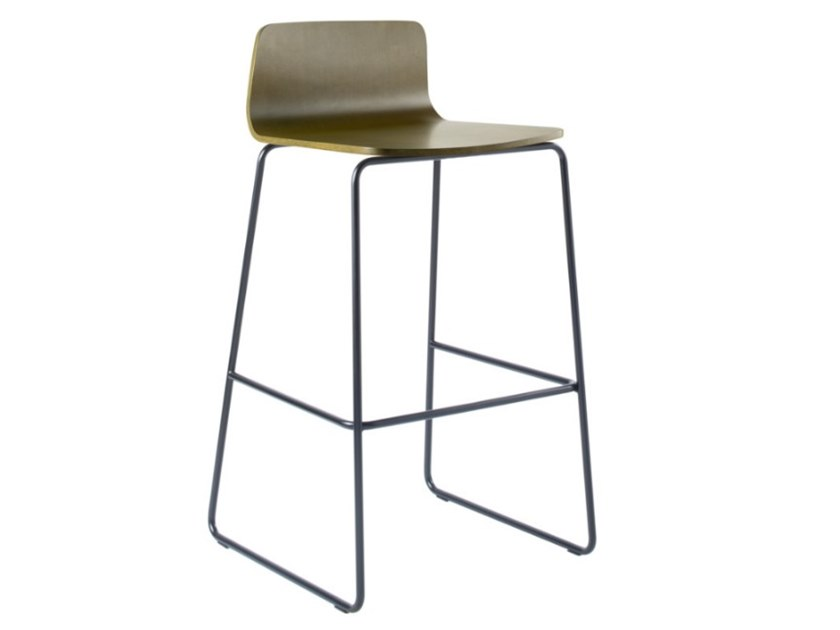 Sled base multi-layer wood stool with metal base TECLA SG02 BASE 20 by New Life