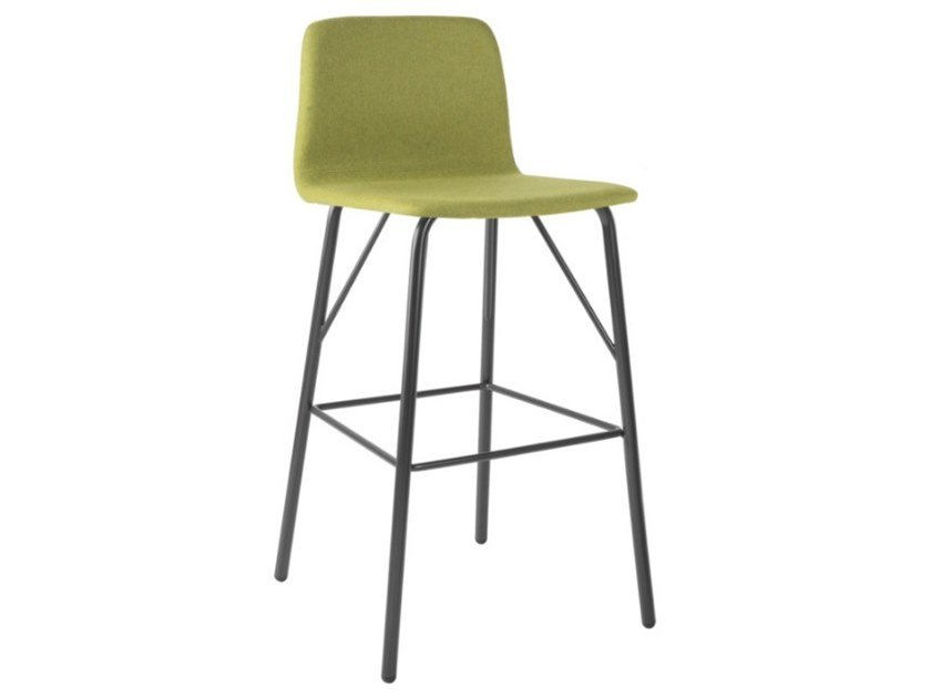 High fabric stool with footrest and metal base TECLA SG01 BASE 21 by New Life
