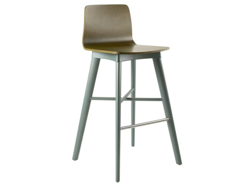 High multi-layer wood stool with back TECLA SG02 BASE 10 by New Life