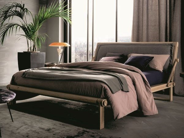 Oak double bed with adjustable headrest TECNO II by AltaCorte