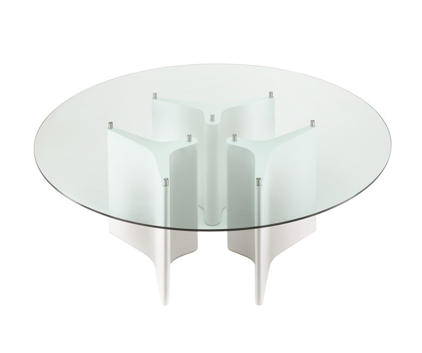 Wood and glass table TEE | Round table by Segis
