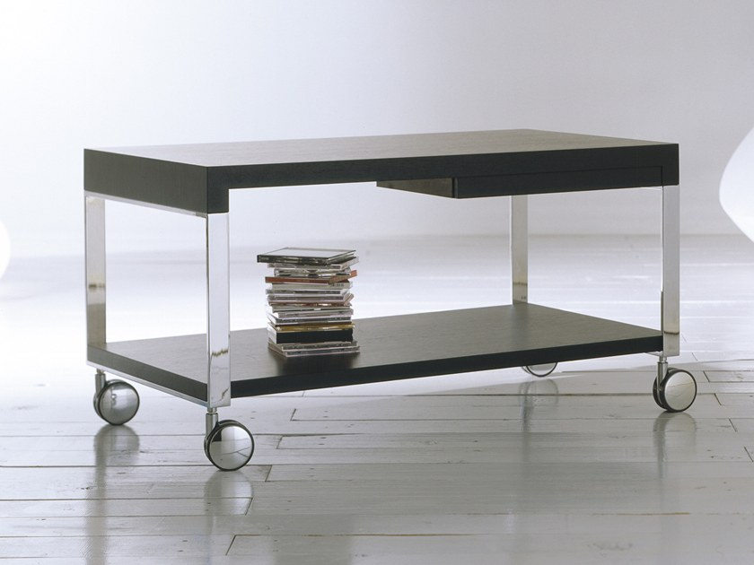 Lacquered MDF Coffee Table With Integrated Magazine Rack With Casters TEK | Coffee  Table With Casters