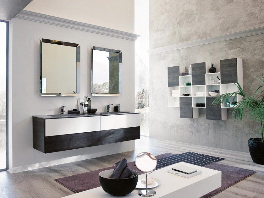 Mobile lavabo doppio sospeso con specchio TEKNO 07 by BMT