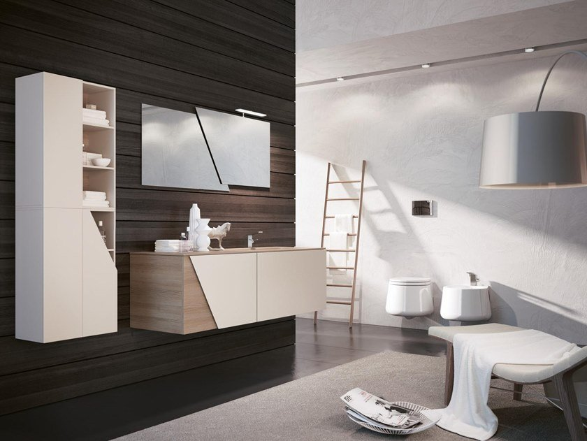 Mobile lavabo sospeso con specchio TEKNO 10 by BMT