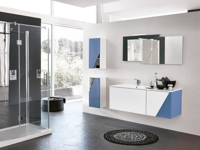 Mobile lavabo sospeso con specchio TEKNO 11 by BMT