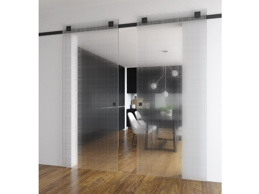 Wood and glass sliding door TEKNO TOTAL BLACK by FOA