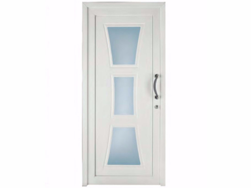 Exterior custom glazed PVC entry door TEKNO TE065 by FOSSATI PVC