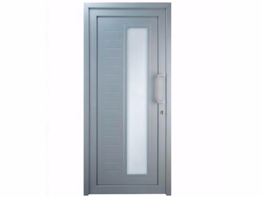 Exterior custom glazed PVC entry door TEKNO TE080 by FOSSATI PVC