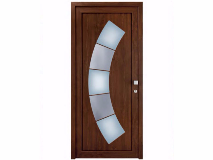 Glazed exterior custom wood-product entry door TEKNO TE248 by FOSSATI PVC