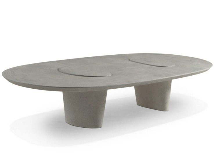 Low oval MDF coffee table TELOPHASE by ROCHE BOBOIS