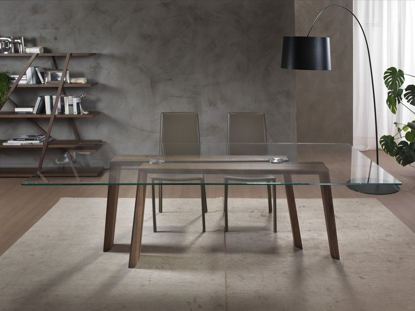 Rectangular wood and glass table TEN FOR TEN by Pacini & Cappellini