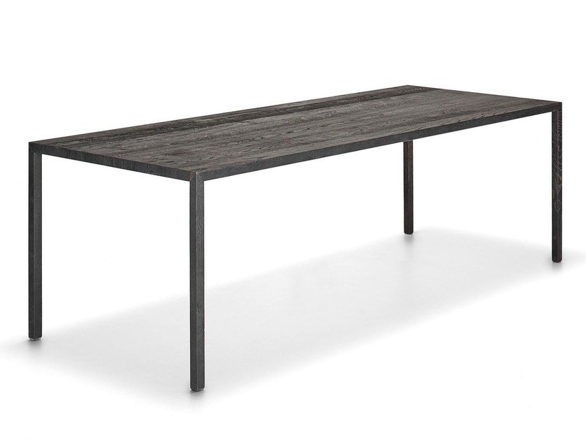 Rectangular oak table TENSE CARBONE by MDF Italia