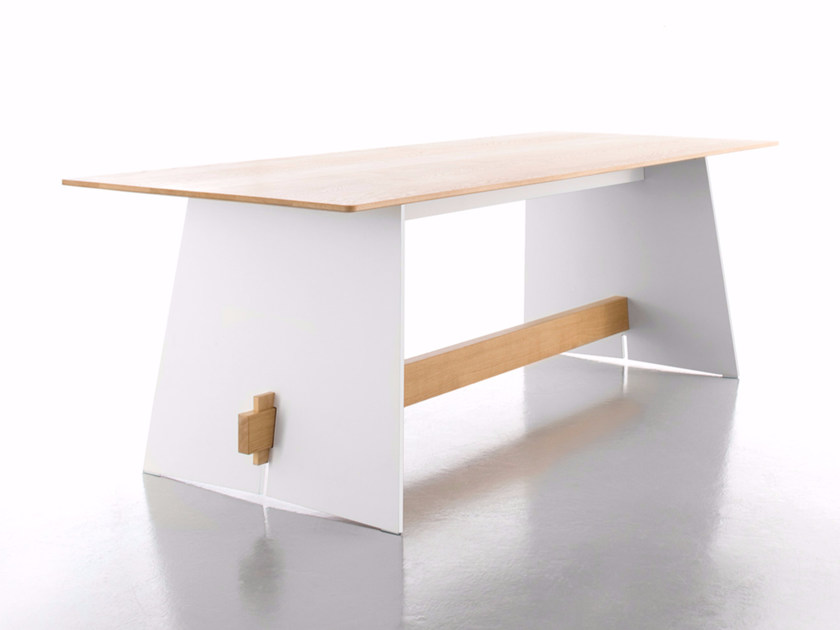 Rectangular wooden dining table TENSION WOOD by conmoto