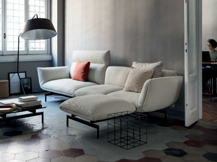 Sectional 3 seater fabric sofa with chaise longue TENSO | Sofa with chaise longue by Kristalia