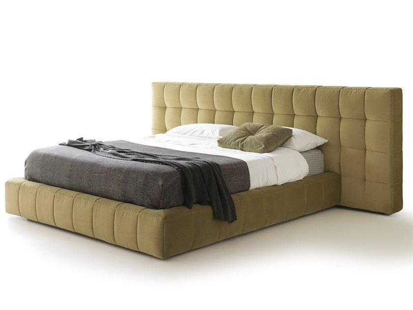 Velvet double bed with upholstered headboard TERENCE by VALENTINI