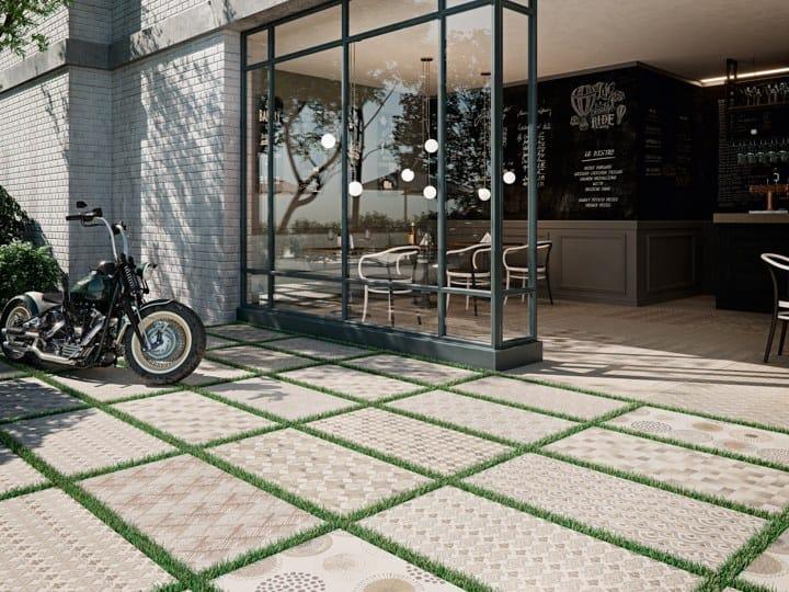 Porcelain outdoor floor tiles with textile effect TEX 2CM by Aparici