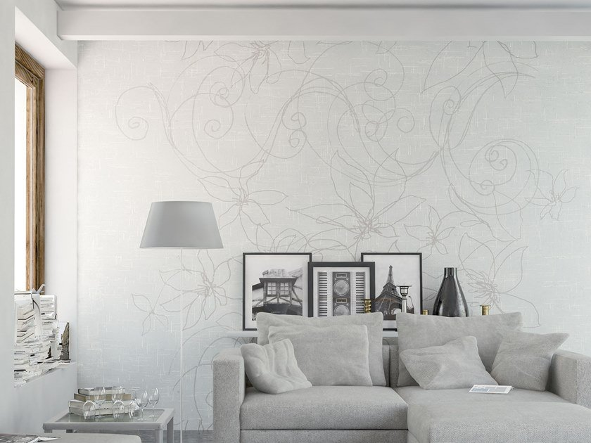 Rubber nonwoven wallpaper with floral pattern TEX by Tecnografica Italian Wallcoverings