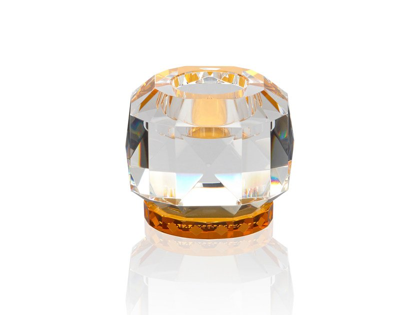 Crystal candle holder TEXAS - CLEAR / AMBER by Reflections Copenhagen