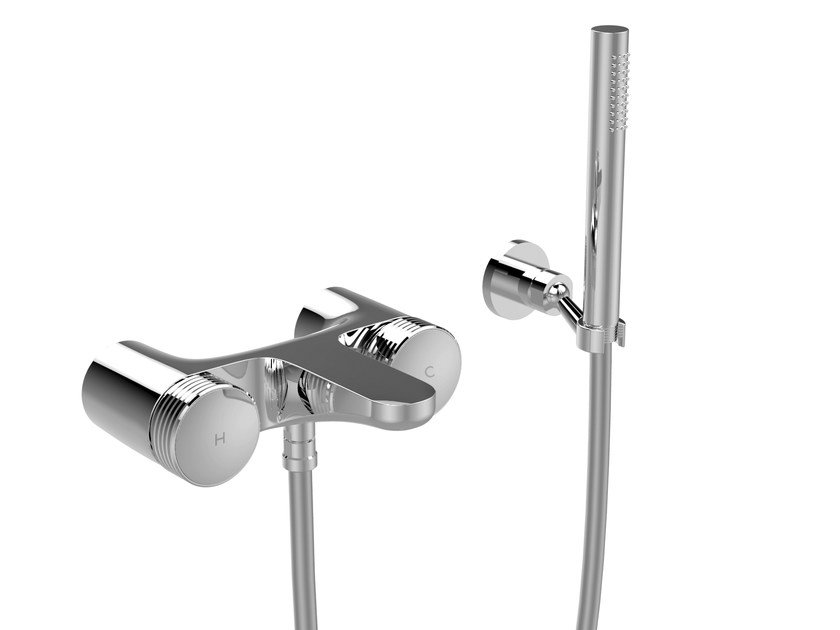 Chromed brass shower tap with hand shower TEXTURE F5604 | Shower tap by FIMA Carlo Frattini