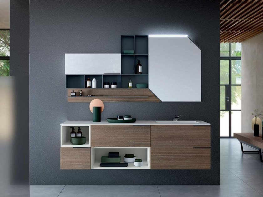 Wall-mounted vanity unit with mirror THAI 315 by RAB Arredobagno