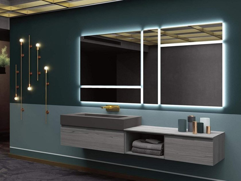 Mobili Da Bagno Rab.Wall Mounted Vanity Unit With Mirror Thai 316 Thai Collection By