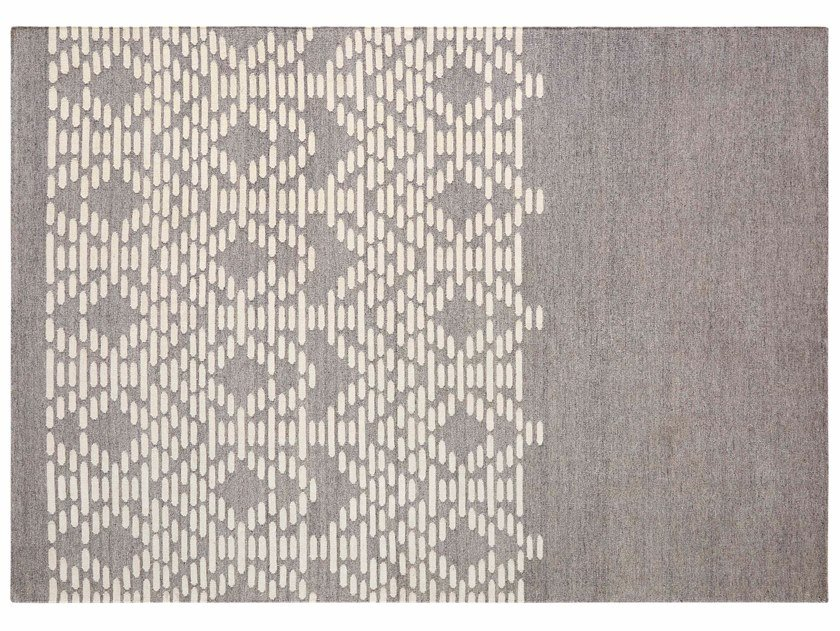 Handmade rectangular wool rug with geometric shapes THAY GREY by GAN
