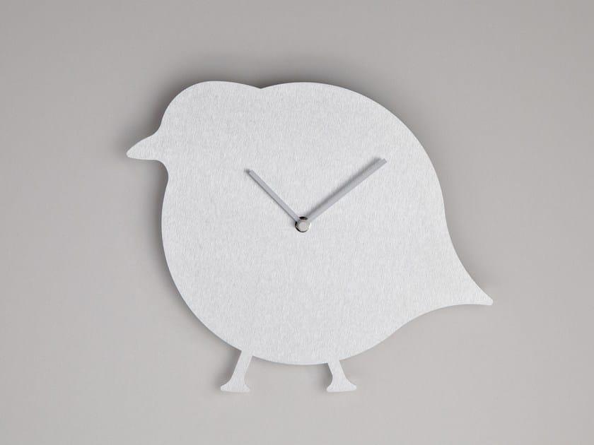 Wall-mounted aluminium clock THE BIRD by Round Animals Design