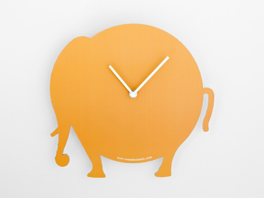 Wall-mounted cardboard clock and cardboard briefcase THE ORANGE ELEPHANT by Round Animals Design